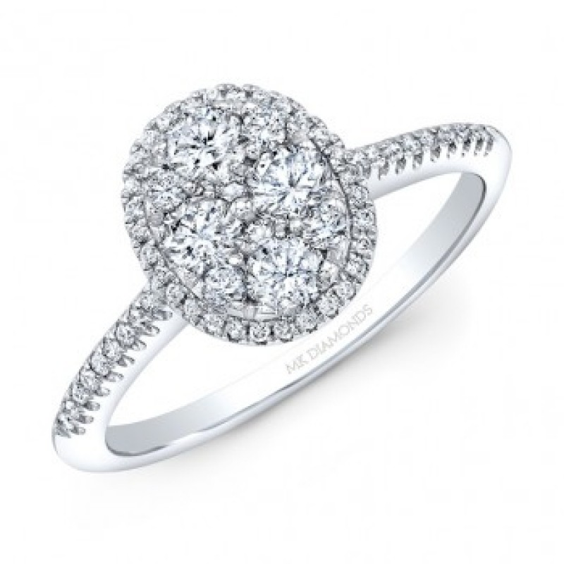 14K White Gold Oval Shape Cluster Diamonds with Halo .54 carat tw