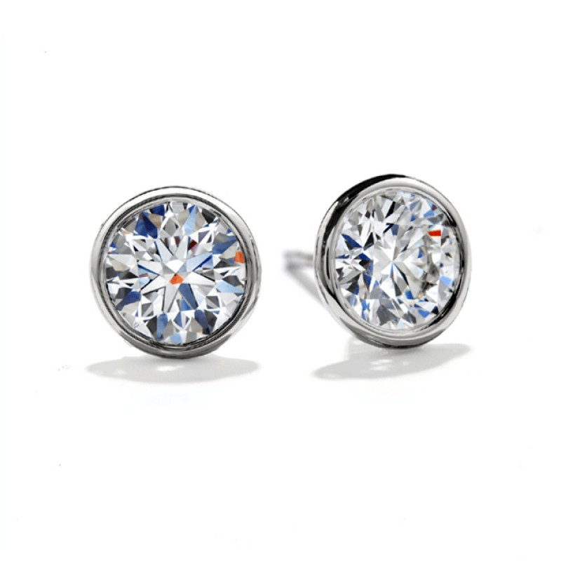 majesty cut diamond solitaire bijoux in yellow set round stud bezel gold o earrings