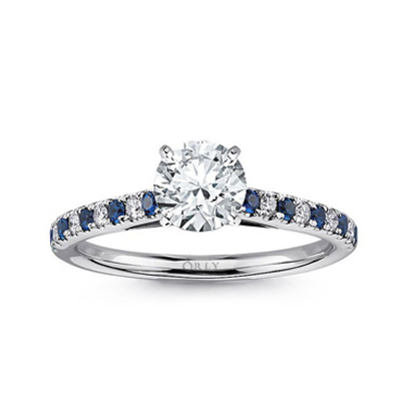 Round Brilliant Cut Diamond with Alternating Sapphires & Diamonds Shank