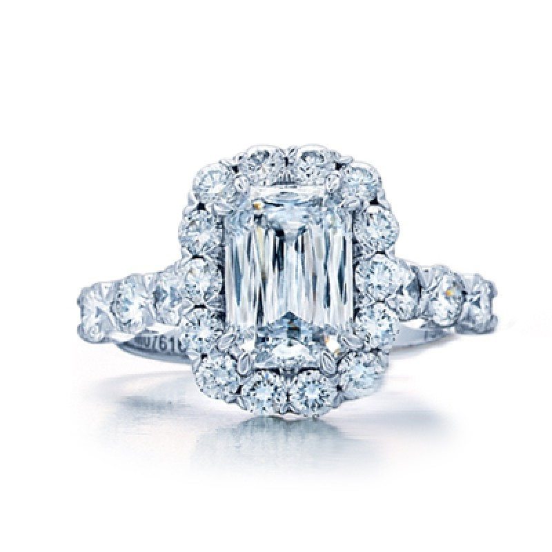 Antique style CrissCut Emerald Cut Diamond with Round CrissCut diamond Halo & Shank