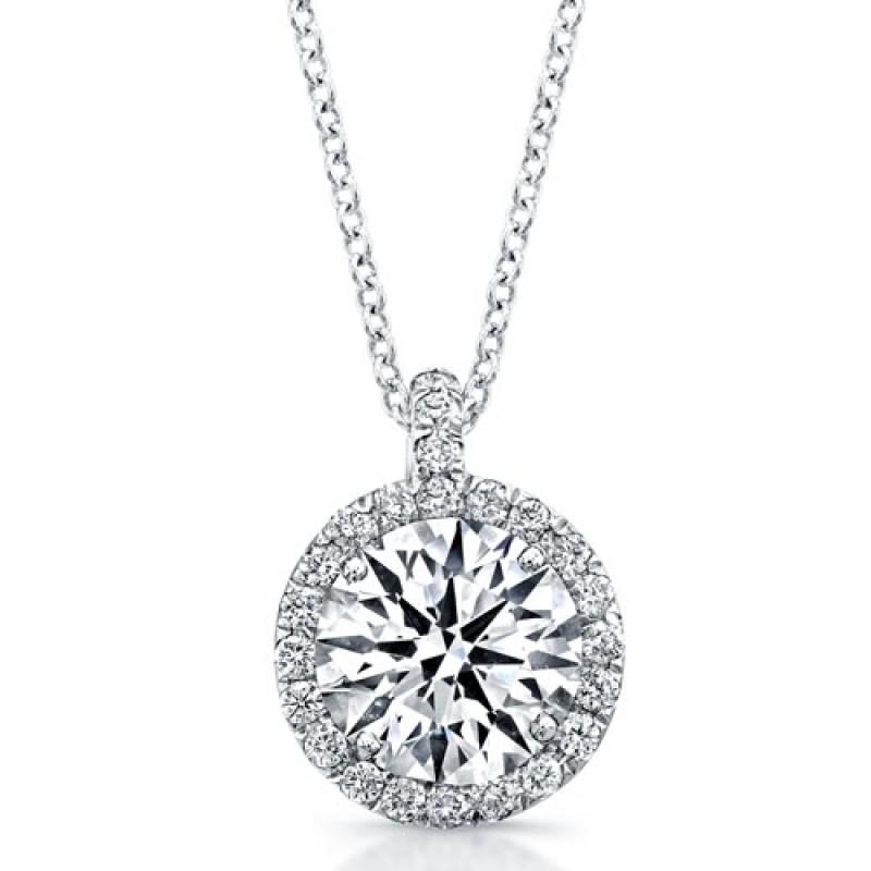 14k White Gold Diamond Halo Pendant
