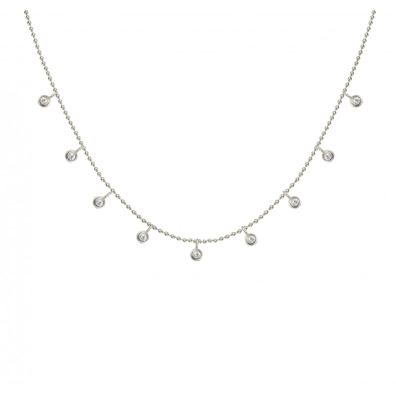 White Gold Floating Diamond Necklace