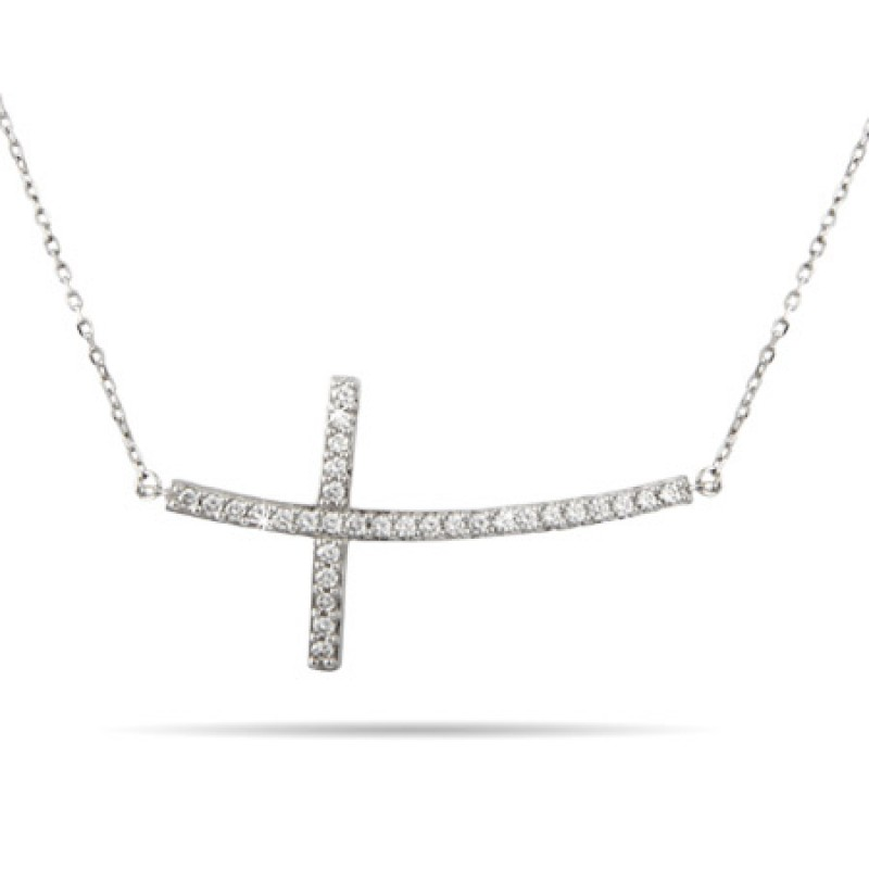 14K White Gold Diamond Sideways Cross Pendant
