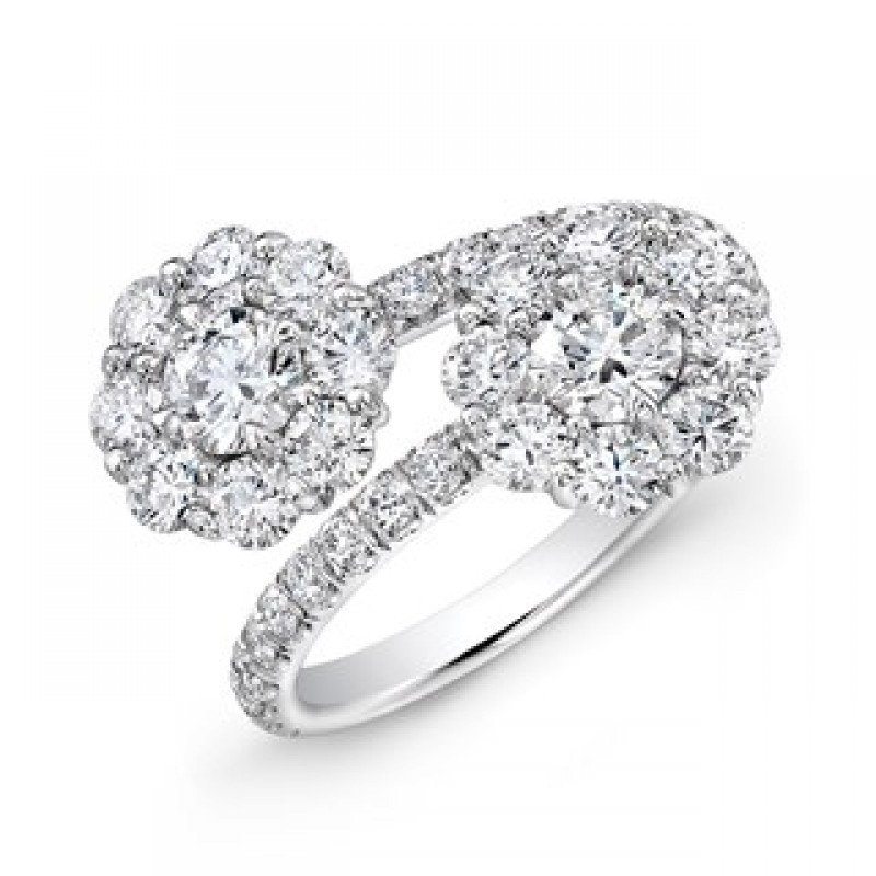 14K White Gold Diamond Floral Bypass Ring