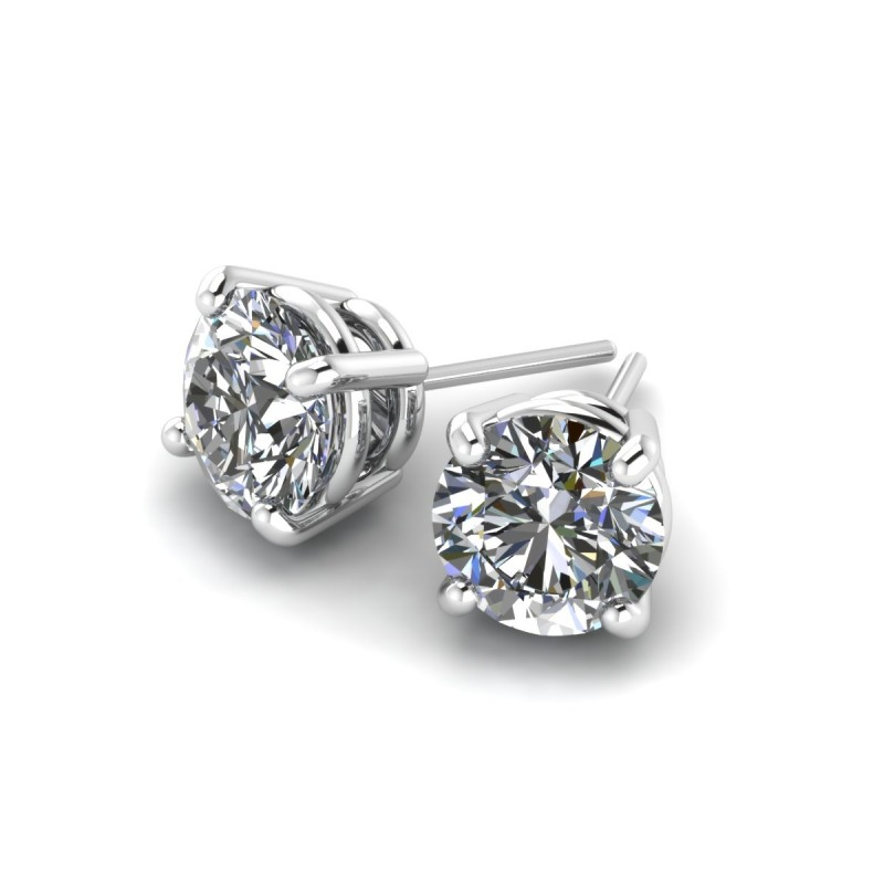 14K White Gold Diamond Studs .39 carat total weight