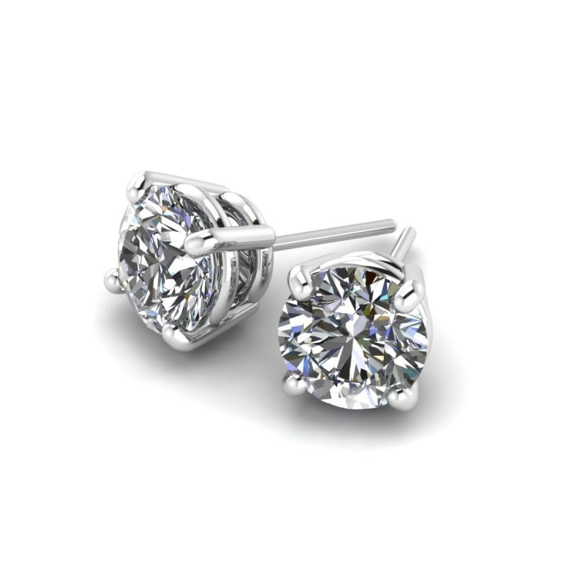 14K White Gold Diamond Studs 1 1/4 carat