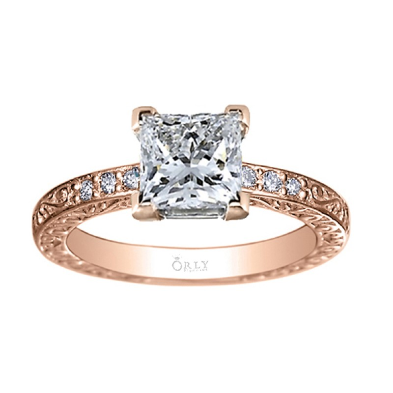 Hand Carved & Beaded Princess Cut Diamond Ring in Rose Gold