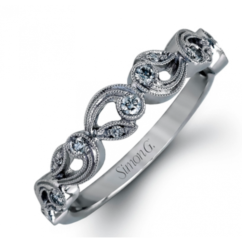 18K White Gold Floral Inspired Wedding Band