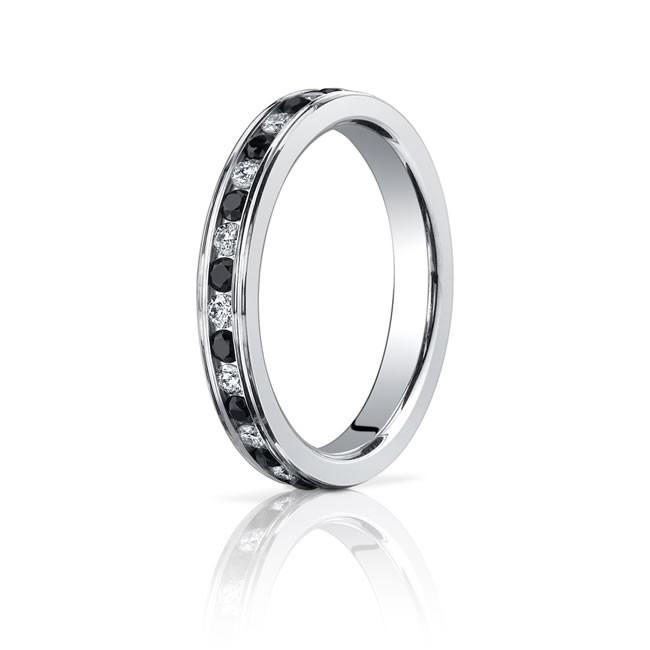 14kw black white diamond eternity band 3mm