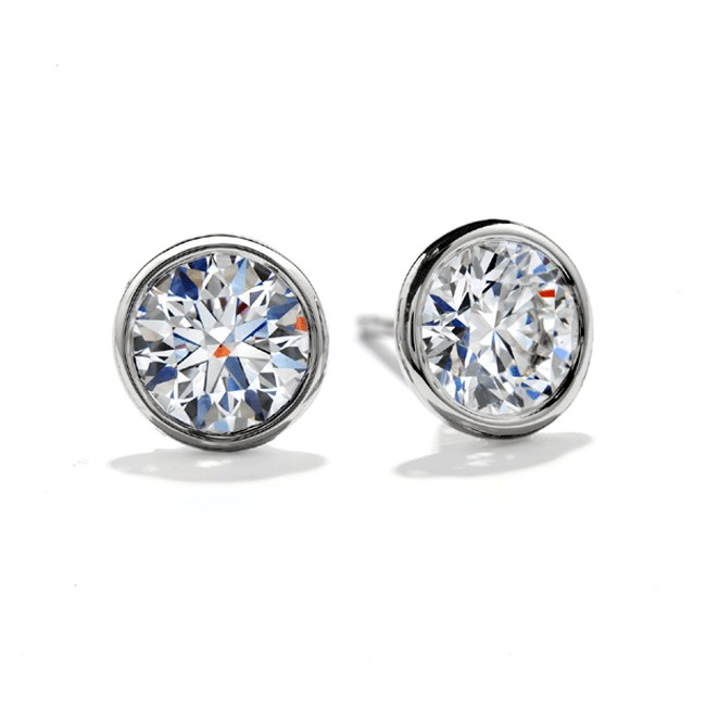 White Gold Bezel Set Clic Round Brilliant Cut Diamond Stud Earrings