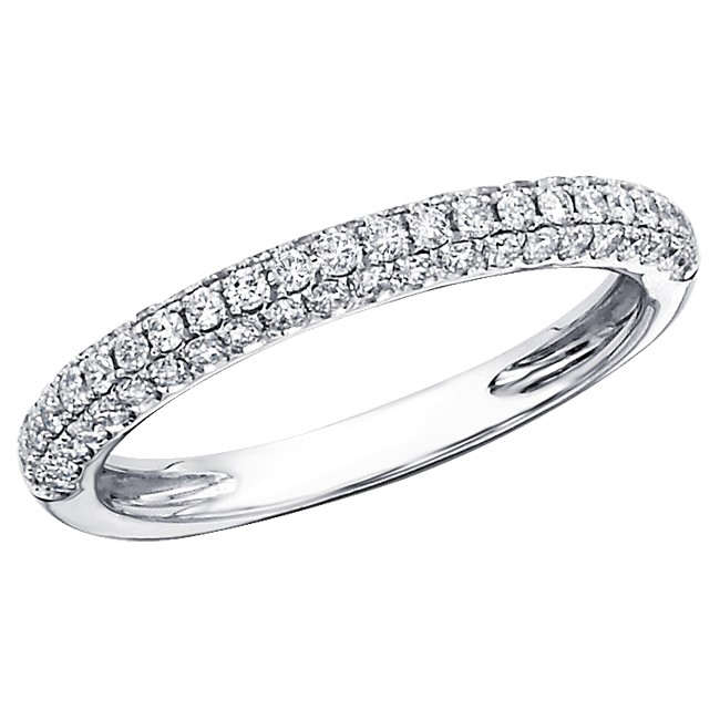 diamond way white half wedding wb bands pav in pave french band
