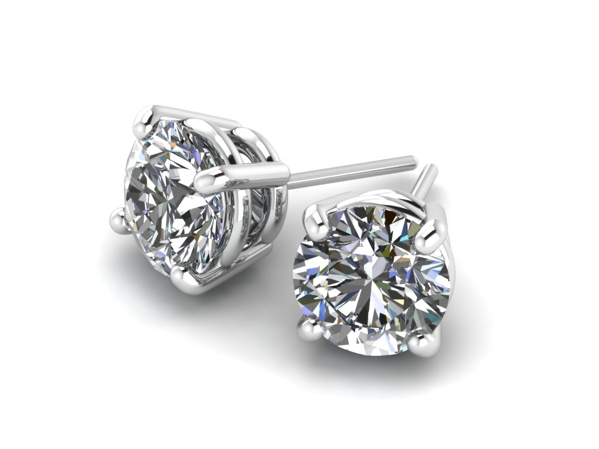 14K White Gold Diamond Studs 3/4 carat