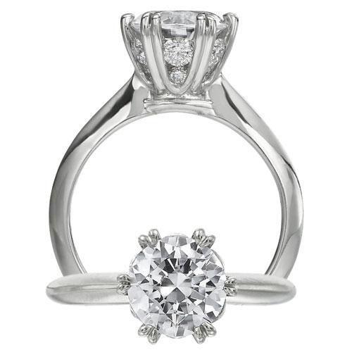 Ritani Diamond Detailed Head Solitaire Engagement Ring Setting