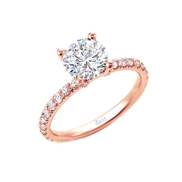 Round Brilliant Cut OrStar Diamond Engagement Ring in Rose Gold