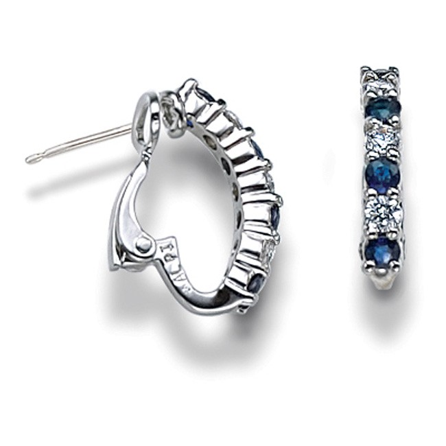 14k White Gold Sapphire &amp; Diamond Half Hoop Earrings