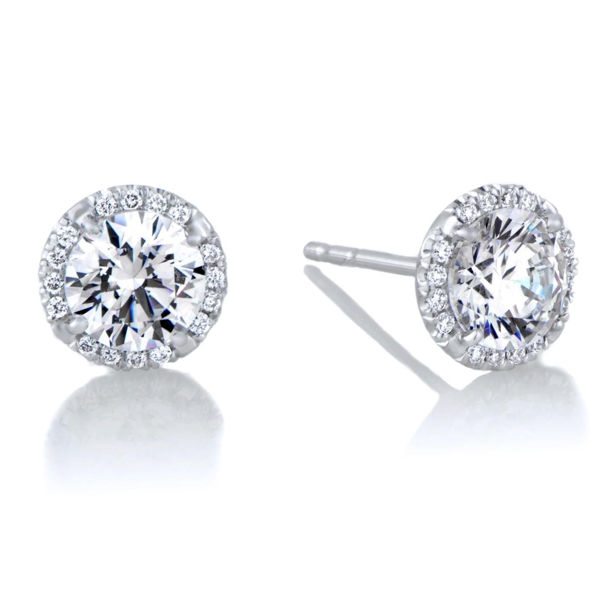 14k White Gold Diamond Halo Stud Earrings