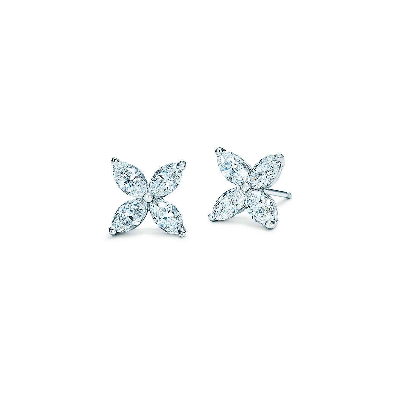 14K White Gold Marquise Diamond Stud Earrings