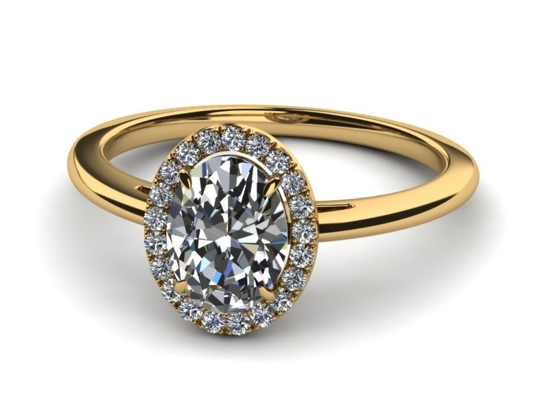 14K Yellow Gold Oval Diamond with Halo .38 carat tw