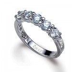 5 Stone Diamond Anniversary Band with Diamonds In The Shank