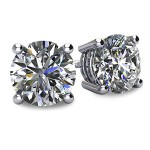 14k White Gold 4 Prong Classic Brilliant Stud Earrings