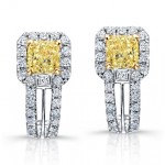 Princess Yellow Diamond Dangle Earrings