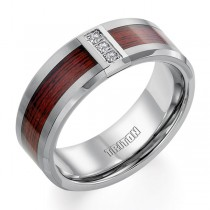 Tungsten Wood Diamond Band