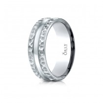 7mm Single Cut Hammered Finish Carved Band