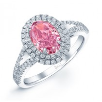 OVAL PINK DIAMOND WITH DOUBLE HALO AND SPLIT SHANK