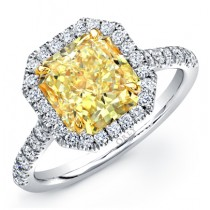 RADIANT CUT FANCY YELLOW DIAMOND WITH DIAMOND HALO FRAME
