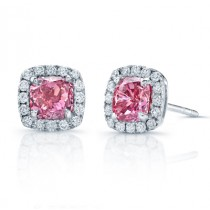 PRINCESS CUT PINK DIAMOND STUDS WITH HALO