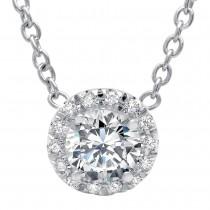 Round Brilliant Cut Diamond with Diamond Halo on Chain