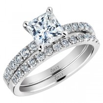 Princess Cut Diamond with Diamonds in Shank