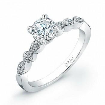14K White Gold Vintage Style Diamond Engagement Ring 1.33 carat tw