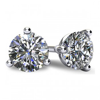 14k White Gold 3 Prong Classic Martini Round Brilliant Cut Diamond Stud Earrings