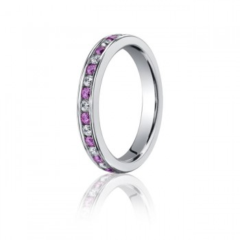 14kw Pink Sapphire & Diamond Eternity Band 3mm