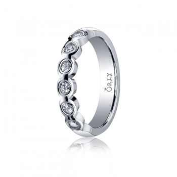 3mm Polished Finish Partial Diamond Bezel Scallop Edge Band