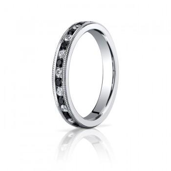 3mm Black & White Diamond Millgrain Eternity Band
