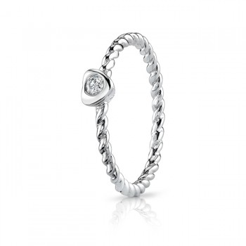 2mm Diamond Heart Twisted Band