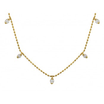 Yellow Gold Floating Diamond Necklace