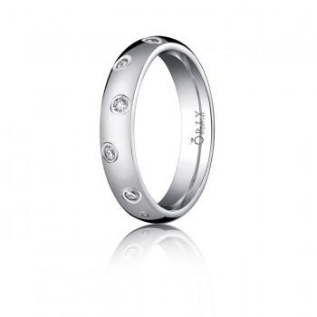 4mm Oval Polished Finish Diamond Comfort Fit Band