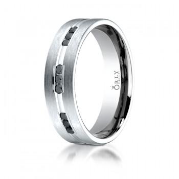 6mm Flat Polished & Brushed Finish Single Cut Black Diamond Halfway Comfort Fit Band