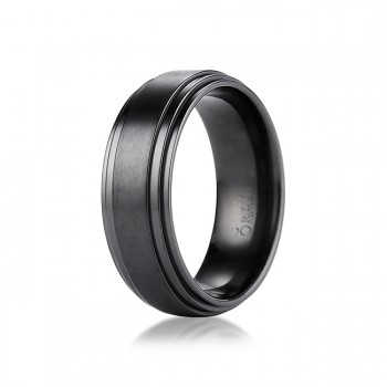 8mm Brushed & Polished Finish Black Titanium Comfort Fit Band