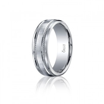 7mm Double Cut Brushed Finish Milgrain Carved Band
