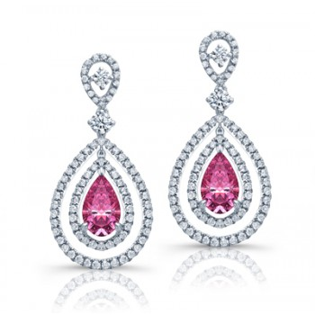 PEAR SHAPE PINK DIAMOND DANGLE EARINGS WITH DOUBLE HALO