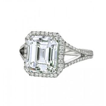 Emerald Cut Diamond With Halo & Split Shank