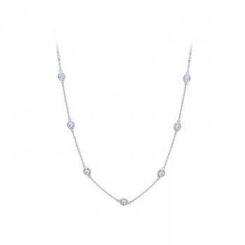 White Gold Diamond by the Inch Necklace