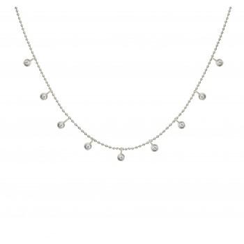 White Gold Floating Diamond Necklace