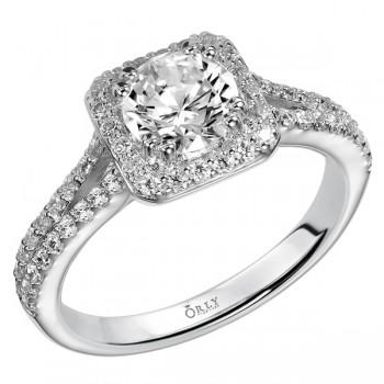 Round Brilliant Cut Diamond Halo with Split Diamond Shank Ring