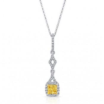 Princess Yellow Diamond Pendant