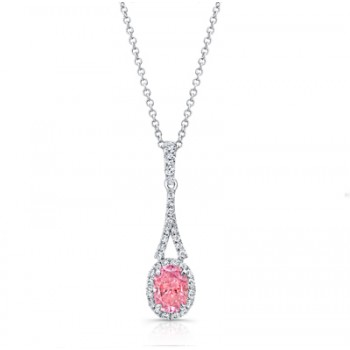 OVAL PINK DIAMOND WITH HALO PENDANT